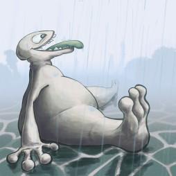 Dino love Rain - digital paint