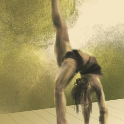 Morning one legged adhomuka vrskasana - Digital paint