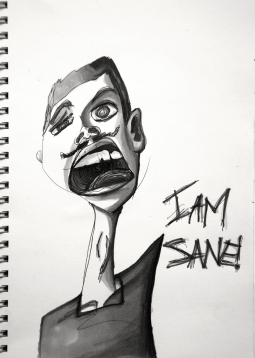 Sane - ink and marker 15x20 cm
