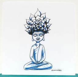 Meditation pose - ink and marker - 20x20cm