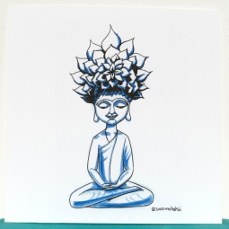 Meditation pose - ink and marker - 20x20cm